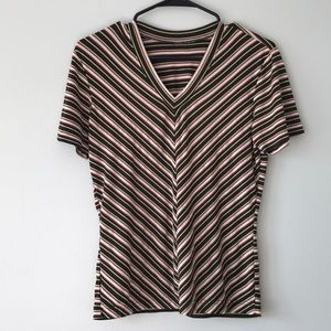 Vintage Black/ Red/ Yellow Striped V Neck Top🌹🌟